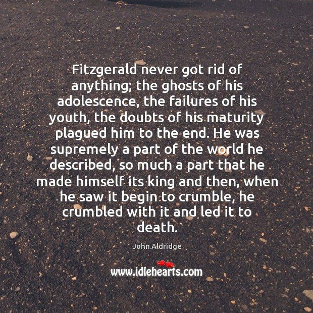Fitzgerald never got rid of anything; the ghosts of his adolescence, the Image