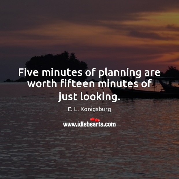 Five minutes of planning are worth fifteen minutes of just looking. Image