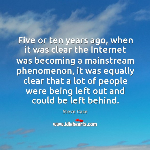 Five or ten years ago, when it was clear the internet was becoming a mainstream phenomenon Image