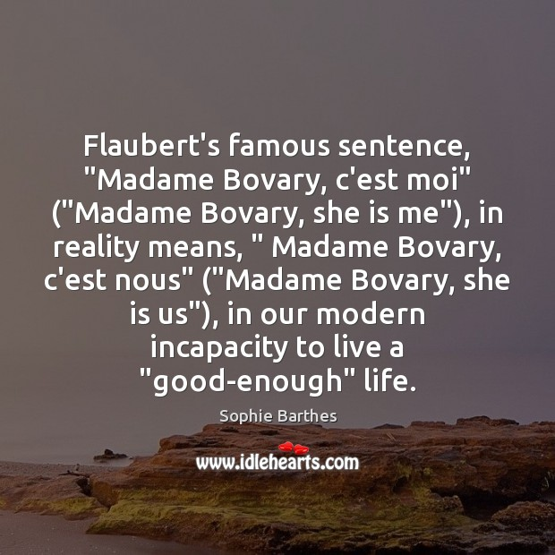 """Flaubert's famous sentence, """"Madame Bovary, c'est moi"""" (""""Madame Bovary, she is me""""), Image"""
