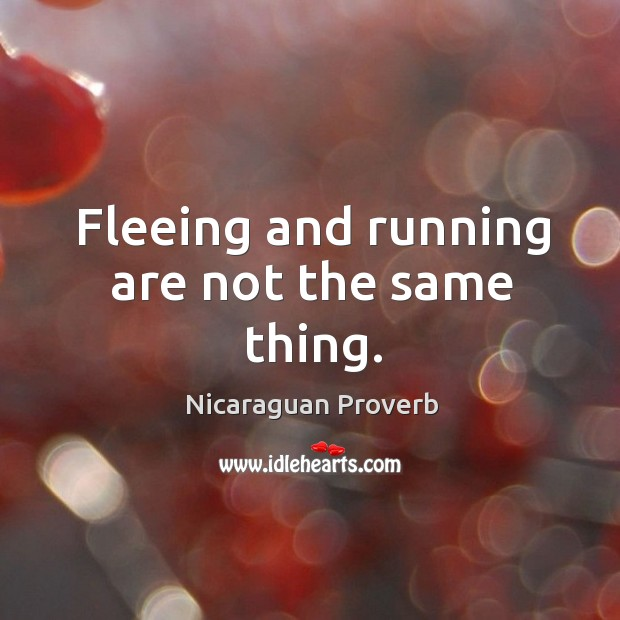 Fleeing and running are not the same thing. Nicaraguan Proverbs Image
