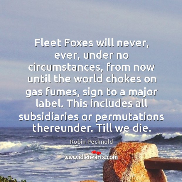 Fleet Foxes will never, ever, under no circumstances, from now until the Image