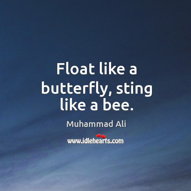 Image, Float like a butterfly, sting like a bee.