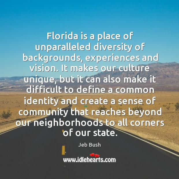 Image, Florida is a place of unparalleled diversity of backgrounds, experiences and vision.