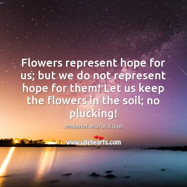 Flowers represent hope for us; but we do not represent hope for Image