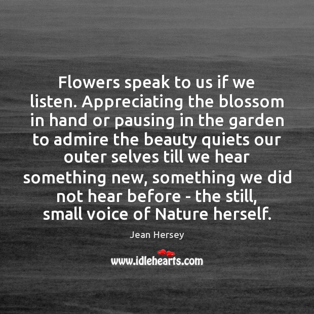 Flowers speak to us if we listen. Appreciating the blossom in hand Image