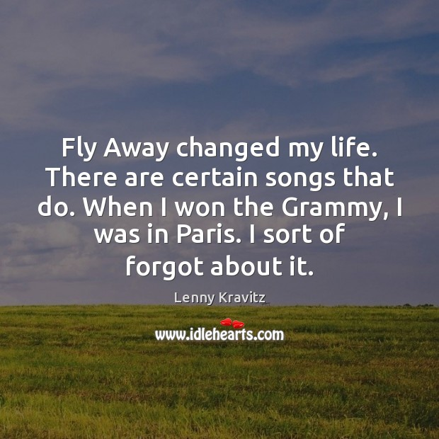 Fly Away changed my life. There are certain songs that do. When Lenny Kravitz Picture Quote