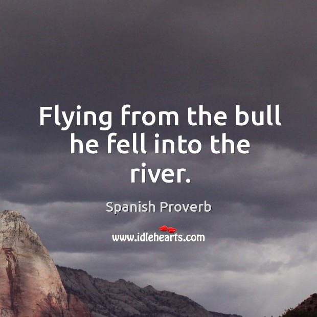 Image, Flying from the bull he fell into the river.