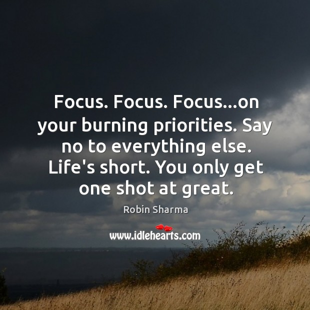 Focus. Focus. Focus…on your burning priorities. Say no to everything else. Image