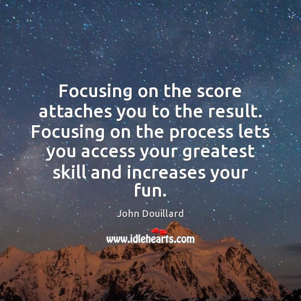 Focusing on the score attaches you to the result. Focusing on the Image