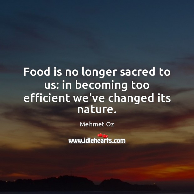 Food is no longer sacred to us: in becoming too efficient we've changed its nature. Image