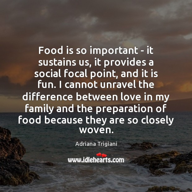 Food is so important – it sustains us, it provides a social Adriana Trigiani Picture Quote