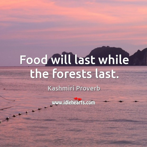 Food will last while the forests last. Kashmiri Proverbs Image