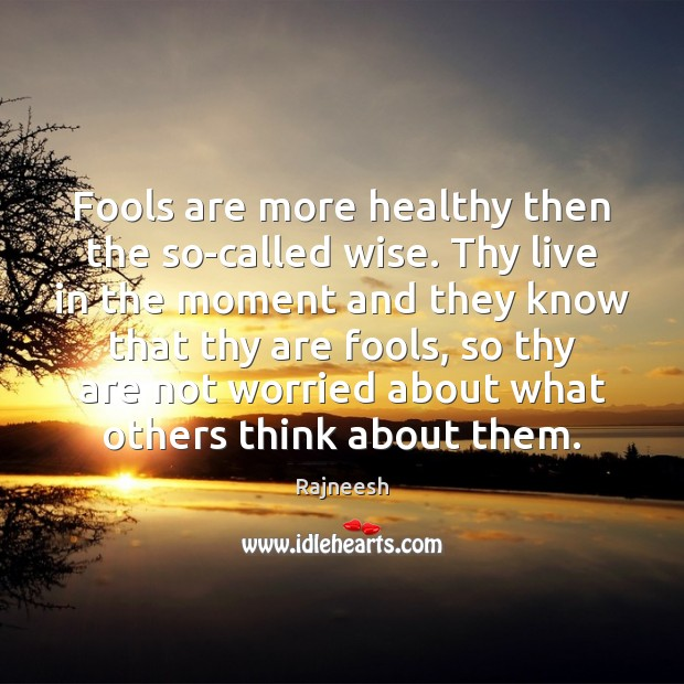 Fools are more healthy then the so-called wise. Thy live in the Image