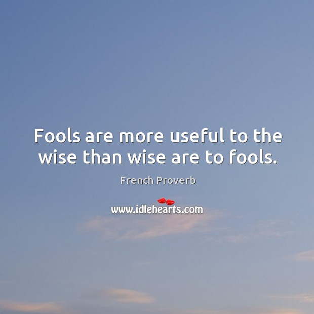 Fools are more useful to the wise than wise are to fools. French Proverbs Image
