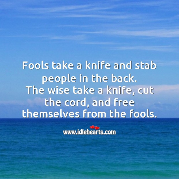 Fools take a knife and stab people in the back. Wise Quotes Image