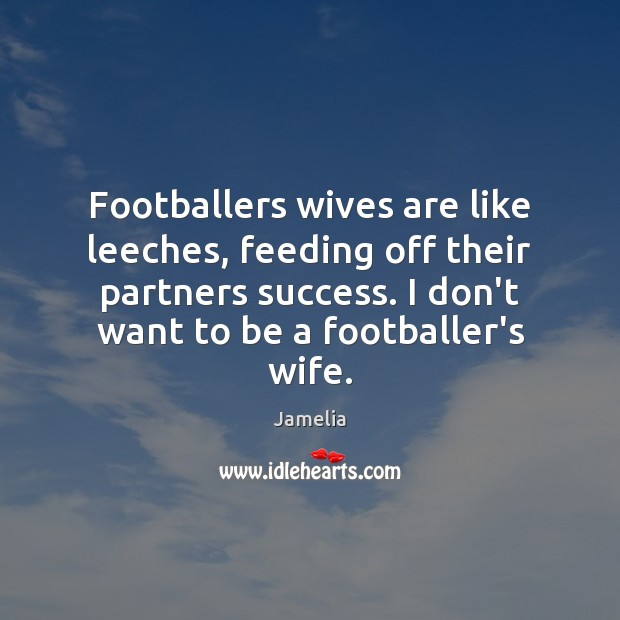 Footballers wives are like leeches, feeding off their partners success. I don't Image