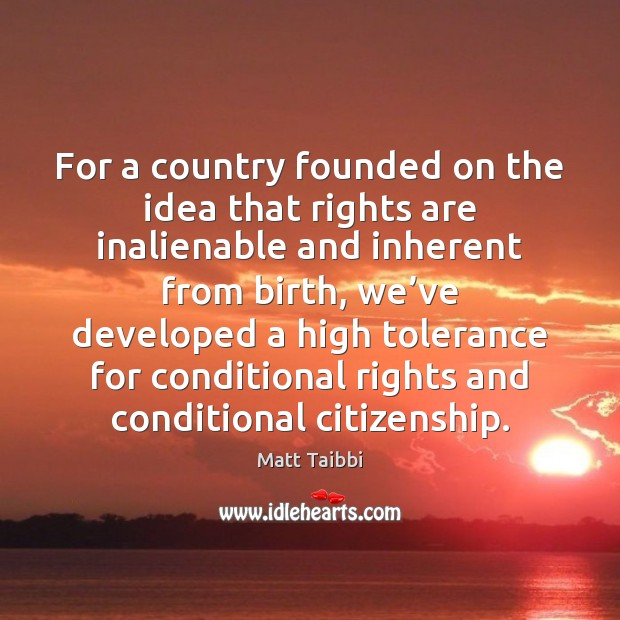 Image, For a country founded on the idea that rights are inalienable and