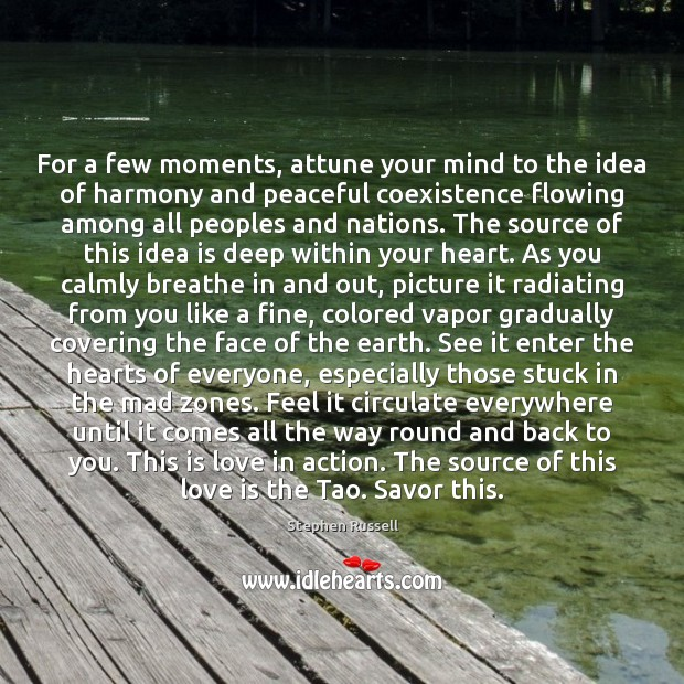 For a few moments, attune your mind to the idea of harmony Coexistence Quotes Image