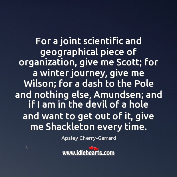 Image, For a joint scientific and geographical piece of organization, give me Scott;