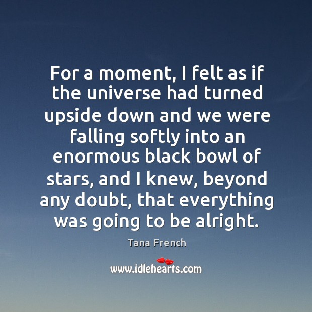 For a moment, I felt as if the universe had turned upside Tana French Picture Quote