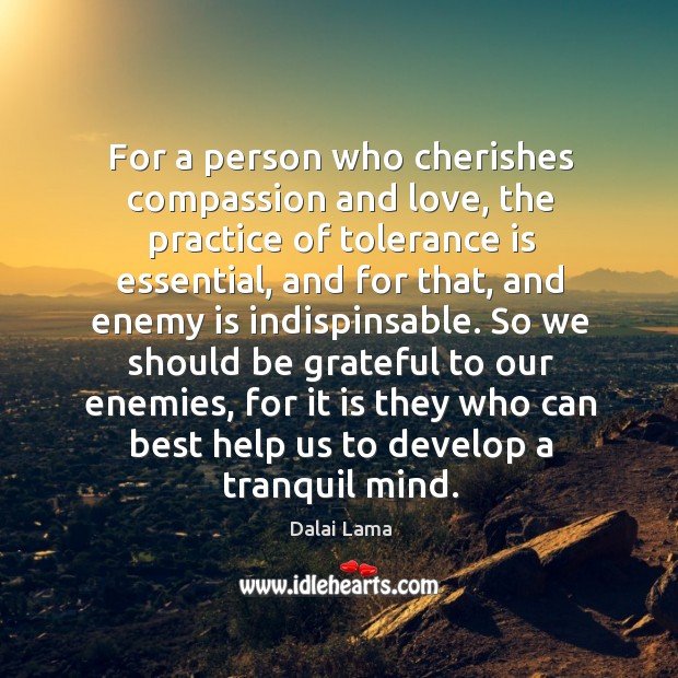 For a person who cherishes compassion and love, the practice of tolerance Tolerance Quotes Image