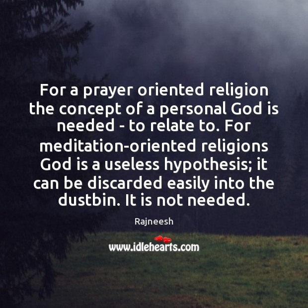 Image, For a prayer oriented religion the concept of a personal God is