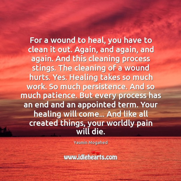 Image, For a wound to heal, you have to clean it out. Again,
