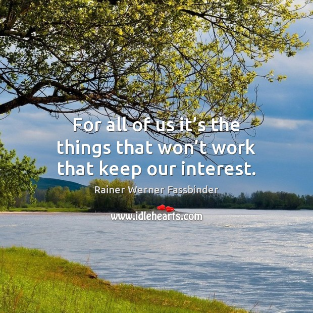 For all of us it's the things that won't work that keep our interest. Rainer Werner Fassbinder Picture Quote