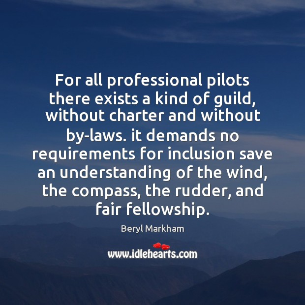 For all professional pilots there exists a kind of guild, without charter Beryl Markham Picture Quote