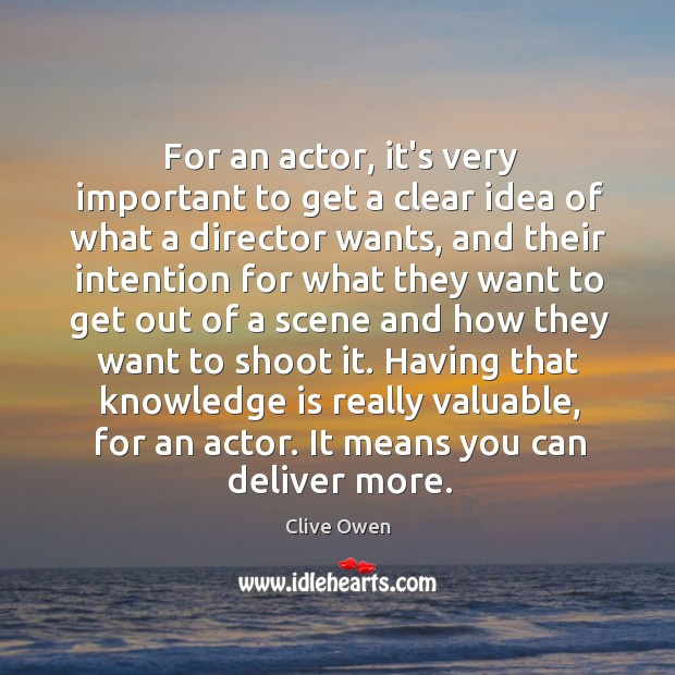 For an actor, it's very important to get a clear idea of Image