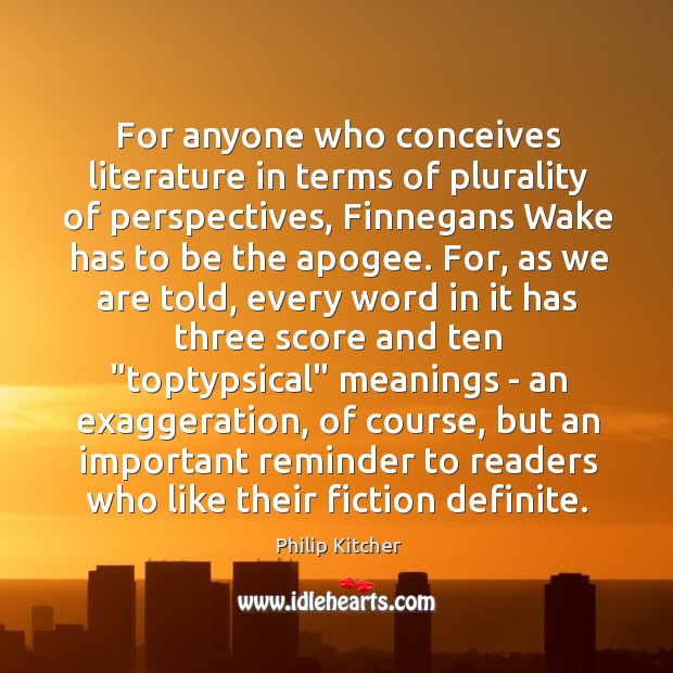 Image, For anyone who conceives literature in terms of plurality of perspectives, Finnegans