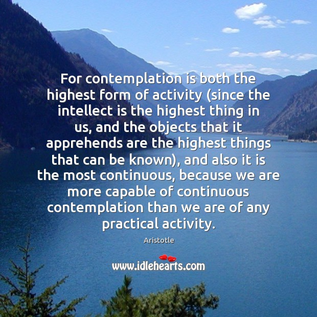 Image, For contemplation is both the highest form of activity (since the intellect