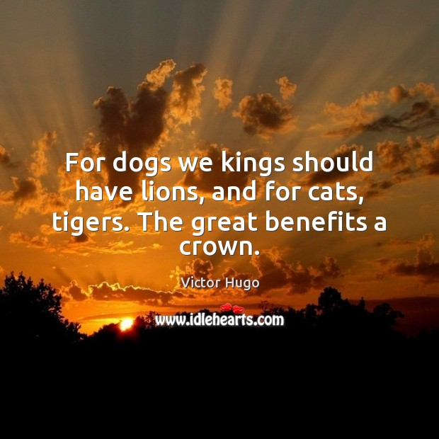 For dogs we kings should have lions, and for cats, tigers. The great benefits a crown. Image
