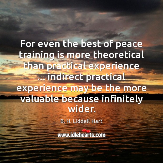 For even the best of peace training is more theoretical than practical B. H. Liddell Hart Picture Quote