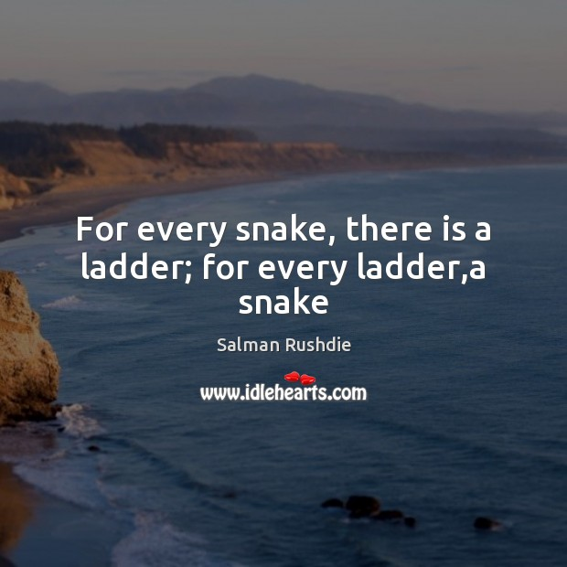 For every snake, there is a ladder; for every ladder,a snake Salman Rushdie Picture Quote