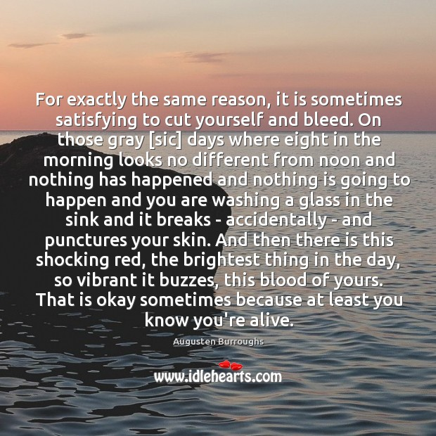 For exactly the same reason, it is sometimes satisfying to cut yourself Augusten Burroughs Picture Quote