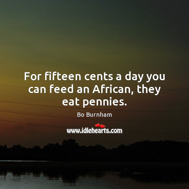 For fifteen cents a day you can feed an African, they eat pennies. Bo Burnham Picture Quote