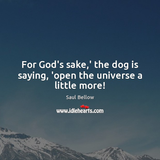 For God's sake,' the dog is saying, 'open the universe a little more! Image