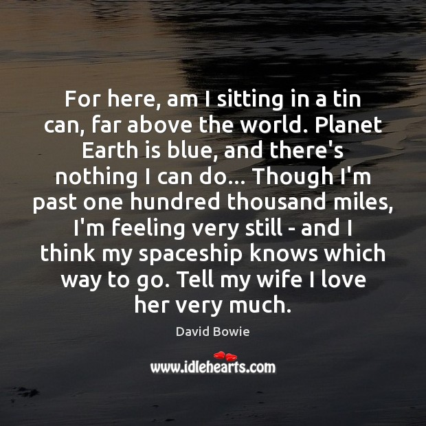 For here, am I sitting in a tin can, far above the David Bowie Picture Quote