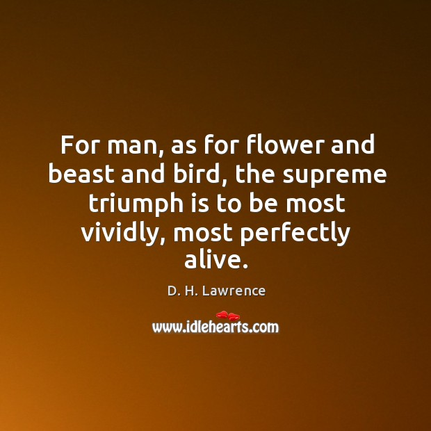 For man, as for flower and beast and bird, the supreme triumph is to be most vividly, most perfectly alive. Image