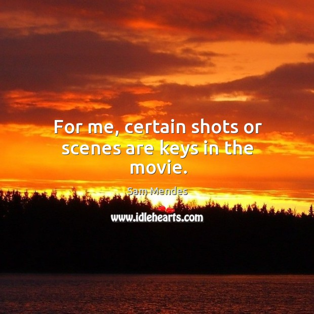 For me, certain shots or scenes are keys in the movie. Image