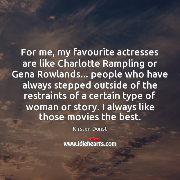 For me, my favourite actresses are like Charlotte Rampling or Gena Rowlands… Image