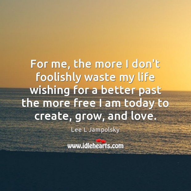 For me, the more I don't foolishly waste my life wishing for Lee L Jampolsky Picture Quote