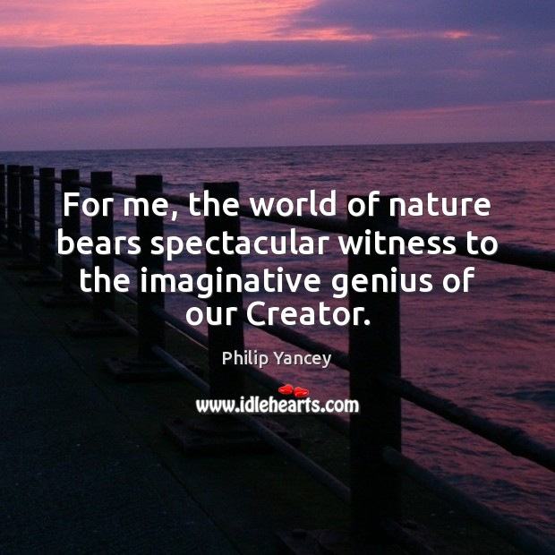 For me, the world of nature bears spectacular witness to the imaginative Image