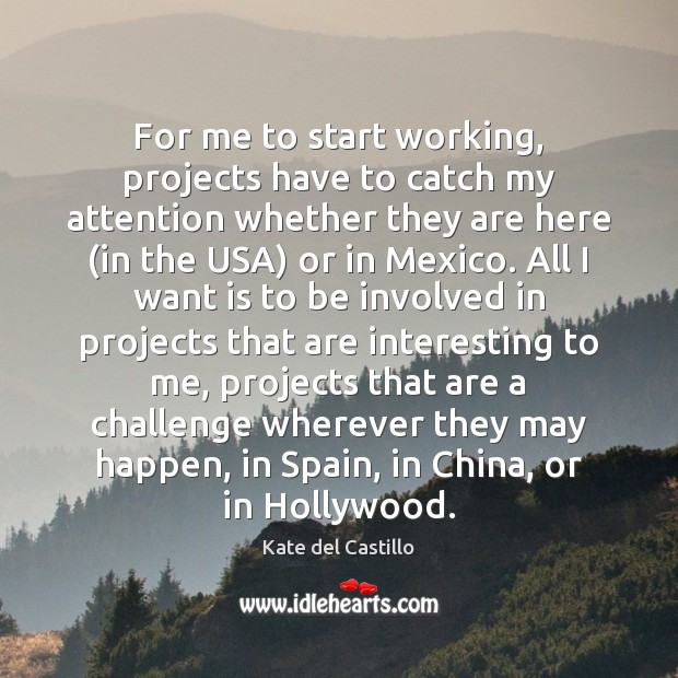 For me to start working, projects have to catch my attention whether Kate del Castillo Picture Quote
