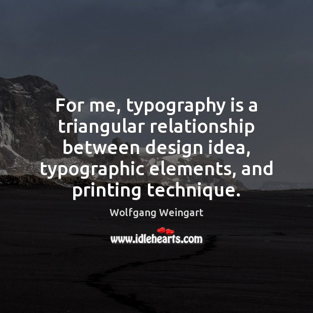 Image, For me, typography is a triangular relationship between design idea, typographic elements,