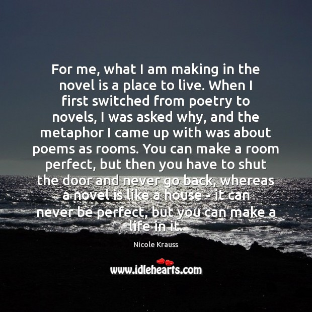 For me, what I am making in the novel is a place Nicole Krauss Picture Quote