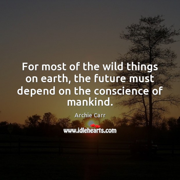 Image, For most of the wild things on earth, the future must depend on the conscience of mankind.