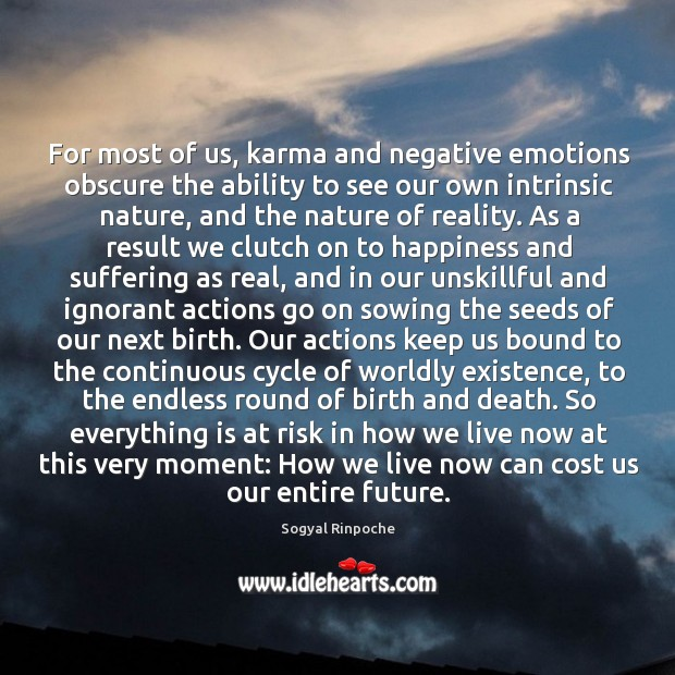 For most of us, karma and negative emotions obscure the ability to Image